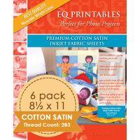 "Premium Printable Cotton Satin Fabric 8.5""X11"" 6/Pkg NOTM084687"