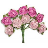 """Mini Paper Blooms .5"""" Flowers W/Wire Stems 10/Pkg NOTM272343"""