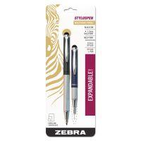 Zebra StylusPen Telescopic Ballpoint Pen/Stylus, Black Ink, Blue/Gray Barrel ZEB33602