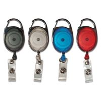 """Advantus Carabiner-Style Retractable ID Card Reel, 30"""" Extension, Assorted, 20/Pack AVT75552"""