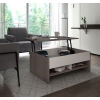 Bestar Small Space 37-inch Lift-Top Storage Coffee Table in Bark Gray and White BESBES161601147