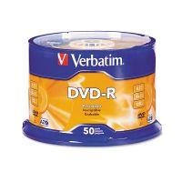 Verbatim DVD-R Discs, 4.7GB, 16x, Spindle, Silver, 50/Pack VER95101