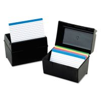 Oxford Plastic Index Card File, 400 Capacity, 6 1/2w x 4 7/8d, Black OXF01461