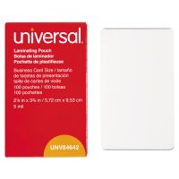 Universal Clear Laminating Pouches, 5 mil, 2 1/4 X 3 3/4, Business Card Size, 100/Box UNV84642