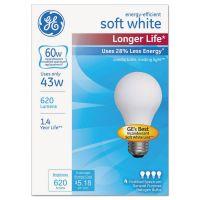GE Energy-Efficient Halogen Bulb, A19, 43 W, Soft White 4/Pack GEL70286
