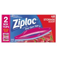 Ziploc Double Zipper Storage Bags, Plastic, 1.75 mil, 1qt, Clear, 48/Box SJN665015BX