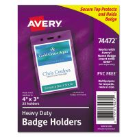 Avery Secure Top Heavy-Duty Badge Holders, Vertical, 3w x 4h, Clear, 25/Pack AVE74472