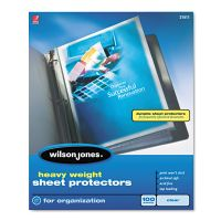 Wilson Jones Top-Loading Sheet Protectors, Letter, Heavyweight, Clear, 100/Box WLJ21411
