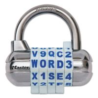 "Master Lock Password Plus Combination Lock, Hardened Steel Shackle, 2 1/2"" Wide, Silver MLK1534D"