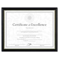 DAX Two-Tone Document/Diploma Frame, Wood, 8 1/2 x 11, Black w/Gold Leaf Trim DAXN17981BT