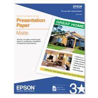 Epson Matte Presentation Paper, 27 lbs., Matte, 8-1/2 x 11, 100 Sheets/Pack EPSS041062