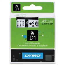 "DYMO D1 High-Performance Polyester Removable Label Tape, 0.37"" x 23 ft, Black on White"