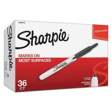 Sharpie Retractable Permanent Marker, Fine Bullet Tip, Black, 36/Pack