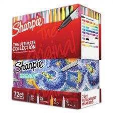 Sharpie Permanent Markers Ultimate Collection, Assorted Tips, Assorted Colors, 72/Set