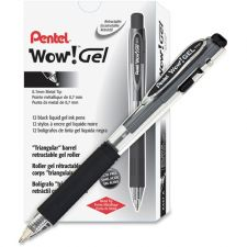Pentel WOW! Retractable Gel Pen, .7mm, Trans Barrel, Black Ink, Dozen