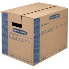 Bankers Box SmoothMove Prime Small Moving Boxes, 16l x 12w x 12h, Kraft/Blue, 10/Carton