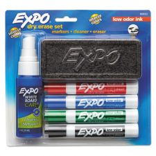 EXPO Low-Odor Dry Erase Marker Starter Set, Broad Chisel Tip, Assorted Colors, 4/Set