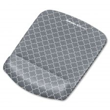 Fellowes PlushTouch Mouse Pad with Wrist Rest, 7 1/4 x 9 3/8 x 1, Gray/White Lattice
