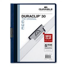 Durable Vinyl DuraClip Report Cover w/Clip, Letter, Holds 30 Pages, Clear/Navy, 25/Box