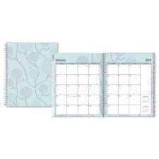 Blue Sky Rue Du Flore Weekly/Monthly Wirebound Planner, 8 1/2 x 11, Green/Lavender, 2019
