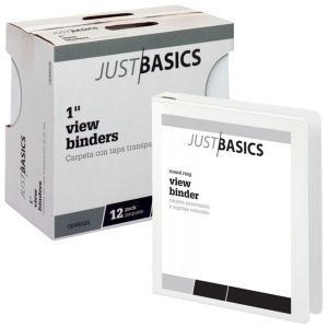"""Just Basics View 3-Ring Binder, 1"""" Round Rings, 61% Recycled, White, Pack Of 12 ODFN217018"""