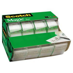 """Scotch Magic Tape in Handheld Dispenser, 3/4"""" x 300"""", 1"""" Core, Clear, 4/Pack MMM4105"""