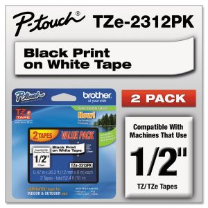 "Brother P-Touch TZe Standard Adhesive Laminated Labeling Tapes, 1/2""w, Black on White, 2/Pack BRTTZE2312PK"