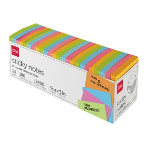 """Sticky Notes, With Storage Tray, 3"""" x 3"""", Assorted Vivid Colors, 100 Sheets Per Pad, Pack Of 24 Pads ODFN9925636"""