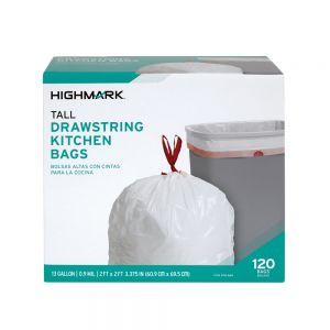 "Highmark Tall 0.9 mil Drawstring Kitchen Trash Bags, 13 Gallon, 27.375"" x 24"", White, Box Of 120 ODFN978869"