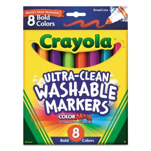 Crayola Bold Colors Washable Marker, Broad Bullet Tip, Assorted Colors, 8/Pack CYO587832