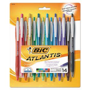 BIC Atlantis Retractable Ballpoint Pen, Medium 1mm, Assorted Ink & Barrel, 14/Pack BICVCGAP141AST