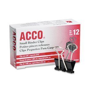 """ACCO Small Binder Clips, Steel Wire, 5/16"""" Cap, 3/4""""w, Black/Silver, Dozen ACC72020"""