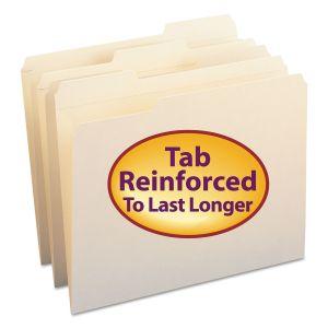 Smead Reinforced Tab Manila File Folders, 1/3-Cut Tabs, Letter Size, 11 pt. Manila, 100/Box SMD10334