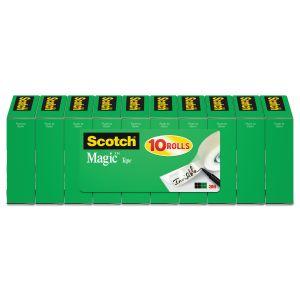 "Scotch Magic Tape Value Pack, 1"" Core, 0.75"" x 83.33 ft, Clear, 10/Pack MMM810P10K"