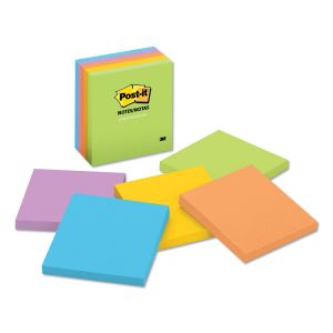 Post-it Notes Original Pads in Jaipur Colors, 3 x 3, 100-Sheet, 5/Pack MMM6545UC
