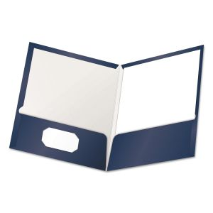 Oxford High Gloss Laminated Paperboard Folder, 100-Sheet Capacity, Navy, 25/Box OXF51743