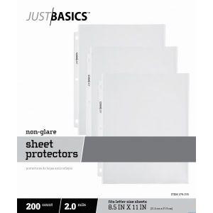 "Just Basics Lightweight Sheet Protectors, 8-1/2 x 11"", Semi-Clear, Non-Glare, Box Of 200 ODFN279376"