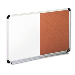 Universal Cork/Dry Erase Board, Melamine, 36 x 24, Black/Gray, Aluminum/Plastic Frame UNV43743