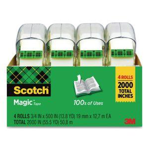 "Scotch Magic Tape in Handheld Dispenser, 1"" Core, 0.75"" x 25 ft, Clear, 4/Pack MMM4105"