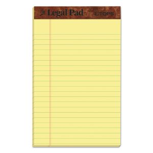 """TOPS """"The Legal Pad"""" Perforated Pads, Narrow Rule, 5 x 8, Canary, 50 Sheets, Dozen TOP7501"""