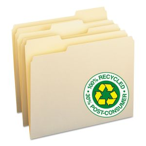 Smead 100% Recycled Manila Top Tab File Folders, 1/3-Cut Tabs, Letter Size, 100/Box SMD10339