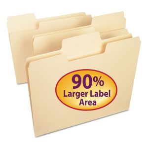 Smead SuperTab Top Tab File Folders, 1/3-Cut Tabs, Letter Size, 11 pt. Manila, 100/Box SMD10301