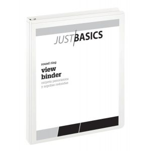 "Just Basics Basic Round-Ring View Binder, 1"" Rings, 61% Recycled, White ODFN396291"