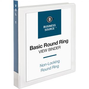 """Business Source 1"""" 3-Ring View Binder, Letter Size, Round Ring, White, 12/Carton BSN09953CT"""