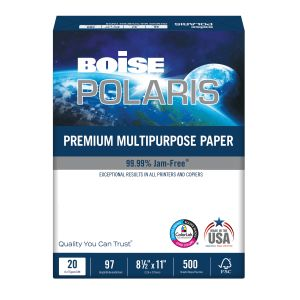 "Boise POLARIS Premium Multi-Use Paper, Letter Size (8 1/2"" x 11""), 20 Lb, FSC Certified, Ream Of 500 Sheets ODFN698308"