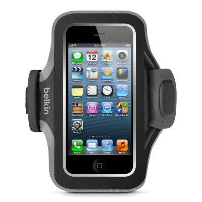 IGRMZZ1215 - Belkin Slim-Fit Carrying Case (Armband) for iPhone; iPod; Cable - Blacktop; Gravel