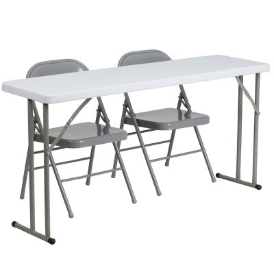 FHFRB18601GG - Flash Furniture Gray; White folding table set