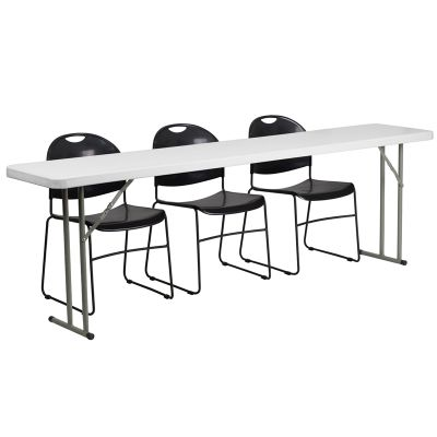 FHFRB18961GG - Flash Furniture Black; White folding table set