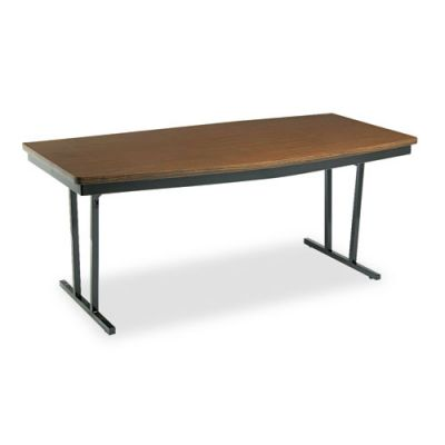 BRKECT366WA - Barricks Economy ''Press-O-Matic'' Conference Folding Table; Boat; 72w x 36d x 30h; Walnut