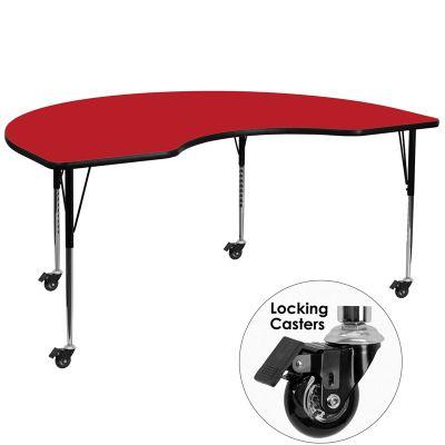 FHFXUA4872KIDNYREDHACASGG - Flash Furniture Red kidney activity table